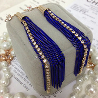 Free shipping 2014 spring new arrival Fashion accessories navy blue tassel diamond elegant bright color long earrings