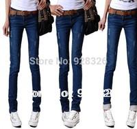 Sales ! 2014 women jeans / Korean Slim pants feet / stretch pencil pants / rolled edge / long pants
