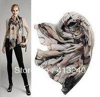 Wholesale - Fashion Women Ink Print Scarf Cotton Linen Begonia Flower Neck Wrap Shawl Stole Warm Winter