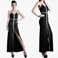Fashion fashion women's thin sexy geometry lines former placketing slim full dress one-piece dress