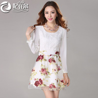 I Free Shipping 2014 new spring women's Slim printed long-sleeved round neck printed chiffon Pierced Fold dress