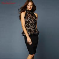 New 2014  fashion women sexy ruffle strapless cutout sweep the back sleeveless lace turtleneck shirt size XS S M L XL XXL