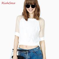 Fashion gauze richcoco patchwork fifth sleeve o-neck short design navel basic shirt t-shirt d260