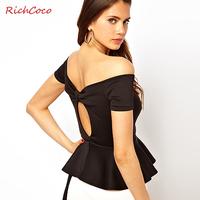 Victoria richcoco sweep strapless ruffle racerback V-neck short-sleeve top d279
