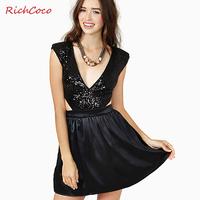 Fashion sexy deep richcoco V-neck sleeveless paillette patchwork zipper back one-piece dress d227