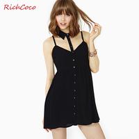 Richcoco fashion sexy single breasted disassembly racerback turn-down collar spaghetti strap chiffon one-piece dress d189