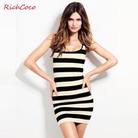 Richcoco fashion sexy o-neck black and white stripe slim basic tank dress one-piece dress short skirt d113