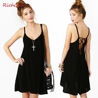 Richcoco fashion sexy lacing low racerback o-neck solid color chiffon spaghetti strap one-piece dress d138
