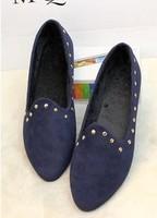 2014 New  spring Velvet women casual flat heel rivet shoes pointed toe shoes female punk flat heel single shoes