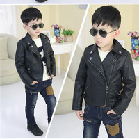 Sell like hot cakes!High quality boy black PU jacket coat lapels spring/long sleeves