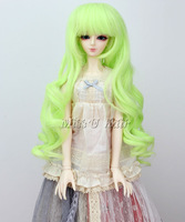 "Wig for 8~9"" 1/3 BJD wig (Luts SD DZ DOD DL) Long Curly Light Green wigs"