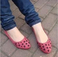 New arrival 2014 flat boat shoes pointed toe shoes flat heel paillette women's shoes fashion rivet shoes