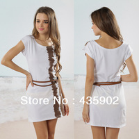 new 2014 summer women  lycra cotton Stripe O-Neck Short sleeve Outside Dress With Belt casual Vintage  mini dress Free shipping
