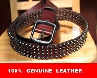 100% Genuine Leather 2014 Man Fashion Metal Punk Retro Rivet Studs HipHop Belt Male Rock Strap Motorcycle Cinto Ceinture TBT0088