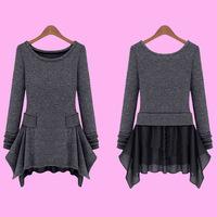 2014 spring plus size clothing chiffon ruffle knitted t-shirt faux two piece set basic one-piece dress
