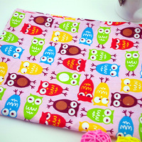 New 2014 pink cartoon owl printed patchwork cotton fabric quilting home textiles for bed sofa cover cloth sewing 5 meters
