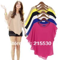 2014 women's summer chiffon plus size shirts female short-sleeve chiffon shirt top female summer batwing shirt