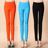 I  spring autumn summer candy color pencil pents skinny feet pants hight waist slim elastic trousers ninth pants capris