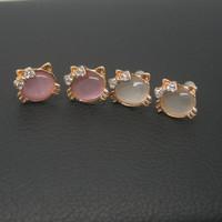 BWG Fashion Jewelry Cute Bow Cat  Stud Earring Earrings Silver / 18K Gold Plated Stud Earrings For Women EE3
