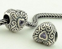 925 Sterling Silver Love Slide Beads With Purple Crystal Heart Jewelry Findings Compatible With Pandora Style Bracelets XS042B