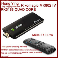 Original MK802IV Rikomagic MK802 IV Quad Core Android TV Box RK3188 2GB RAM 8GB ROM Bluetooth WIFI HDMI + Original Mele F10 Pro