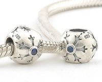Snow Flake 925 Sterling Silver Spacer Charm Bead with Blue Crystal Jewelry, Compatible With Pandora Style Bracelet XS045