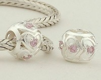 Love Heart 925 Sterling Silver Loose Charm Bead Ball with Pink Crystal, Suitable for Pandora Bracelet Jewelry DIY Making XS036A