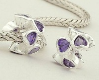 925 Sterling Silver Love Slide Beads with Purple Heart Crystal DIY Jewelry suitable for European Charm pandora Bracelets XS050A