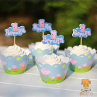 2014 New Peppa pig cupcake wrappers&toppers picks decoration kids birthday party favors supplies(60pcs wraps+60 toppers)