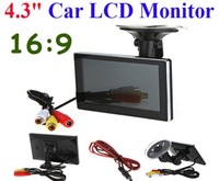 "High Resolution 4.3"" Color TFT 16:9 LCD Car Rearview Monitor for DVD VCD Camera VCR video Super Slim PAL/NTSC DC 12V"