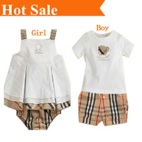 Retail,High Quality 2014 new arrival summer casual  fashion kids brand baby boy&girl set shorts 2 pcs clothing