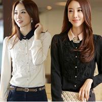Spring Women's Elegant Chiffon Lace Long-sleeve Shirt Plus Size Basic Shirt Office Lady OL Blouse Turn-down Collar Shirt
