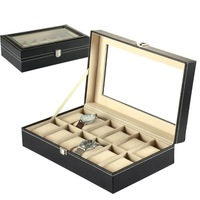 Free Shipping 12 Grids Slots Wooden Leather Jewelry Gift Case Favor Storage Holder Display Wrist Watches Boxes Drop Shipping
