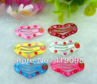 Free shipping! Veryhot girl's hair clips, 3.5 CM series-heart-shaped , printing strawberry, 6 color random mixing, 100 PCS/lot