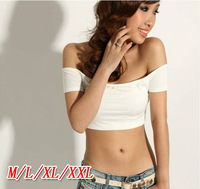 6007 bare midriff t-shirt shorts sexy slit neckline strapless small vest tube top