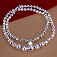 "New Arrival! Wholesale Fashion 18"" 925 Sterling Silver Necklace Bead Chain For Women Jewelry Free Shipping SPCN195"