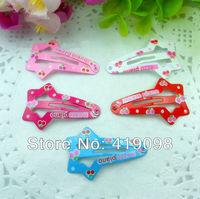 Free shipping!Very hot baby girl headdress, 4 cm clip, printing peach heart, star shape, 5 color random mix, 50 PCS/lot
