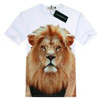 Free shipping men summer 3d print Lion animal partten 12# t-shirt o-neck short-sleeve 3D man T shirt