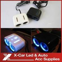 Инвертирующий усилитель мощности Auto Car charger Lighter Socket 12V / 24V 2 Way Splitter Charger Plug Power Adapter for iphone/samsung