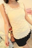 6026 summer scalloped full lace slim basic shirt vest spaghetti strap