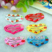 Free shipping! Veryhot girl's hair clips, 3.5 CM series-heart-shaped , printing cherry, 6 color random mixing, 100 PCS/lot
