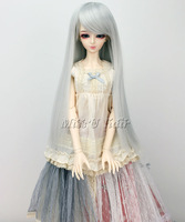 "Brand New BJD Dollfile Hair Wig 8-9"" 1/3 (Luts SD DZ DOD DL) Long Straight Silver Grey"