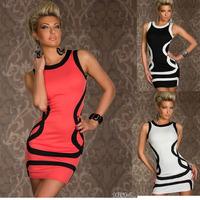 M XXL Sexy Dresses Fashion sexy underwear basic stripe sleeveless prom laciness sexy hip slim one-piece dress club dreeses#D07