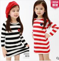 2014 New Fashion Striped Long Sleeve Girl's T-Shirt O-Neck Casual Children Clothing Cotton Long T-Shirt Free Shipping