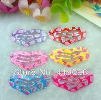 Free shipping! Very hot girl's hair clips, 3.5 CM series-heart-shaped,printing peach heart,6color random mixing, 100 PCS/lot