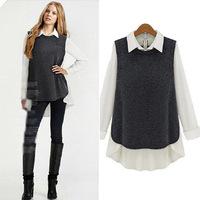 Free shipping/ Women's Euramerican style knit splicing shirt neck fake two-piece shirt Wholesale+Retail
