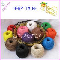 Free shipping 48pcs/lot colored waxed  hemp twine/cords   (dia. 1mm,100m/100g/ball)DIY hemp rope 12 kind color