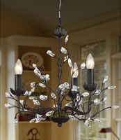 Lighting american retro antique finishing iron crystal pendant light