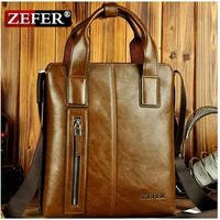 New 2014 Fashion ZEFER Brand Male Genuine Leather Business Totes Men Shoulder Messenger Handbag Briefcase For Men Free Shipping