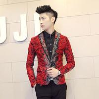 2014 New fashion Blazer men  male HARAJUKU costume red gradient the gray black blazer men's   free shipping